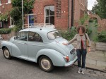 Penny Skerrett and her Morris Minor