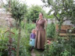 Alice Yaxley and her daughter in their back yard garden